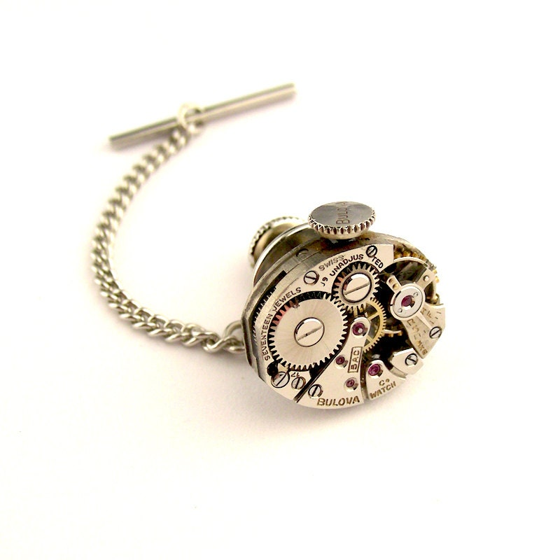 Steampunk Tie Tack Lapel Pin Vintage Bulova Watch By