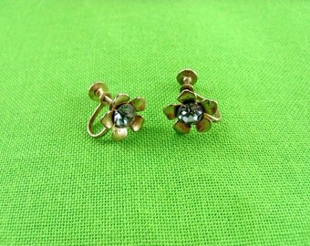 Gold-tone And Blue Rhinestone Screw Back Earrings (Item 734)