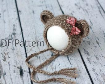 PDF Crochet Pattern Newborn Little Bear Bonnet