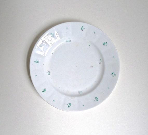 Antique Porcelain Sprig Ware Staffordshire Plate (Sprigware)