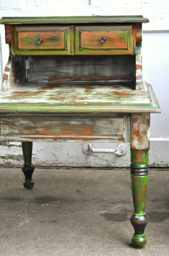 sale Rustic antique green farmhouse side tables all wood