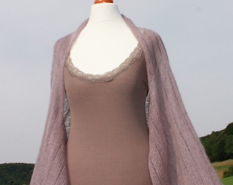 Sleeves stole, Shrug, bridal shawl, wedding shawl, knitted shawl, kid-mohair / silk, old rose, dusky pink, antique pink, 3/4 arm