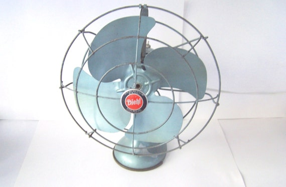 Vintage Wall Mounted Fans : Retro aqua blue metal oscillating diehl fan table or wall