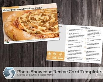 Showcase Photo Recipe Card - 4x6 Printable Photoshop Template for Photographers, Food Bloggers, Cooks, and Crafters