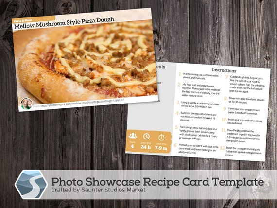 Showcase Photo Recipe Card 4X6 Printable Photoshop Template