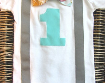 Boys First Birthday Outfit - Suspenders Red Blue Orange Bow Tie - First Birthday Boy - 1st Birthday Boy - First Birthday Shirt - Boys 1st