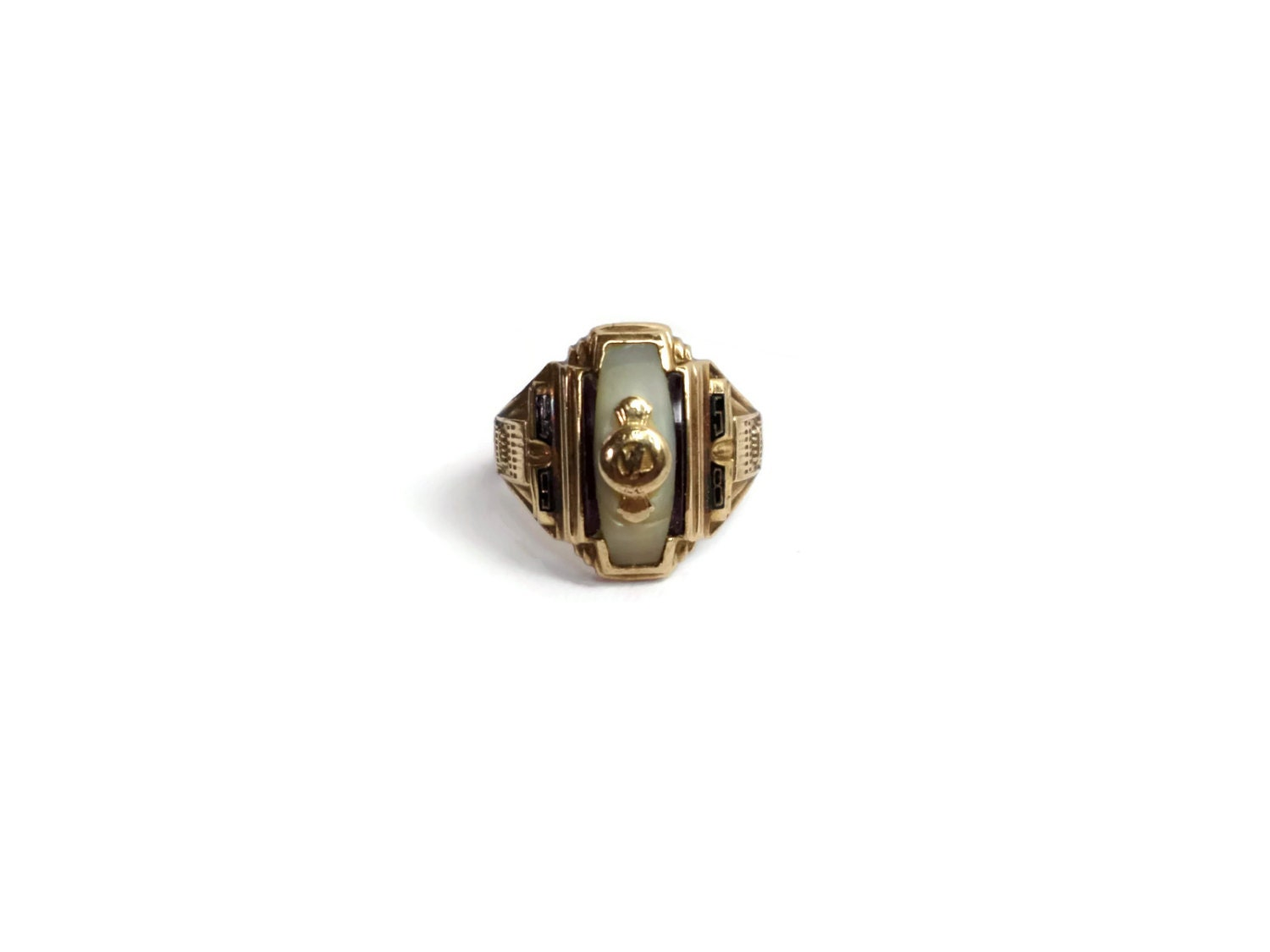 Vintage 1958 Class Ring 10k Yellow Gold Ruby Mother of Pearl