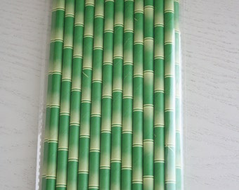 25 Paper Straws - Green Bamboo