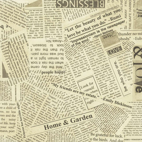 Collage Newsprint Fabric Paper Newsprint By Carrie Bloomston