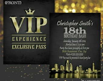 VIP invitation-- VIP PASS, Birthday, Bachelorette/Bachelor Party, Wedding