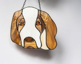 Suncatcher Dog Stained Glass Braque de l'Ariege Handmade in Poland. Ship Worldwide