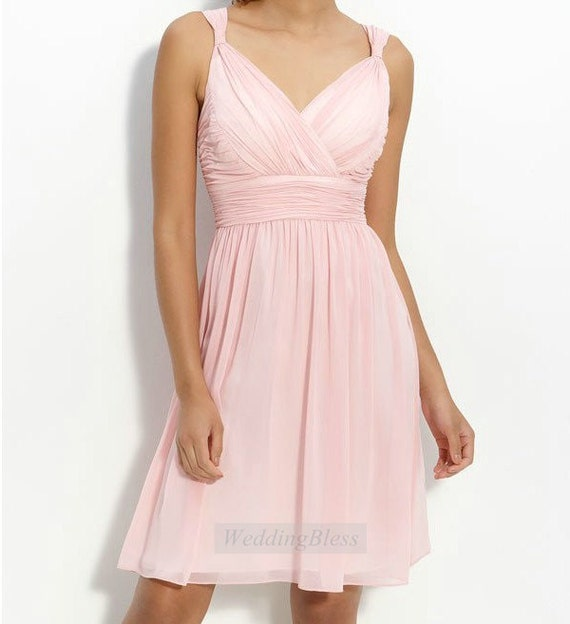 Pink Bridesmaid Dress  A-line Short Straps Bridesmaids Dress