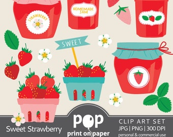 Strawberry Clip Art, Sweet Strawberry cliparts, berries clipart, summer picnic inspiration, girl birthday theme strawberry decor, cute berry