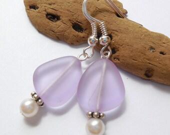 Light Purple Sea Glass Earrings,Sea Glass Jewelry,Seaglass Earrings,Seaglass Jewelry,Beach Glass Jewelry,Beach Glass Earrings.  FREE US SHIP