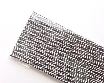 Jet Black Chevron Paper Straws (25) Zig Zag, Party, Print, Drink