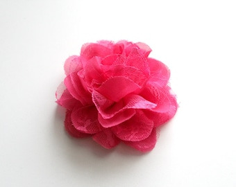 1 Large Chiffon Lace Flower--Hot Pink