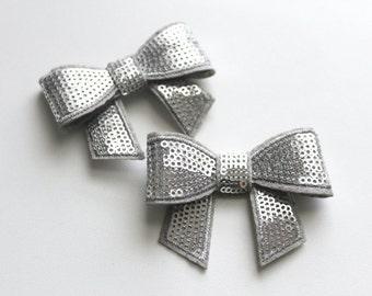 2 Small Sequin Bows--Silver