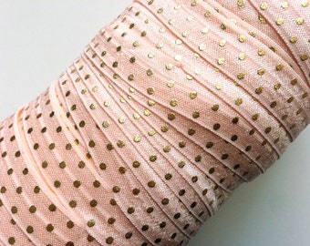 5/8 Inch Fold Over Elastic Petal Peach Gold Dots Pattern, Metallic, Shiny FOE, Printed