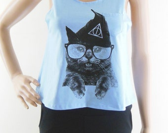Cat Glasses Tshirt cat tank top animal tank top animal shirt women tank top women top tunic top size S