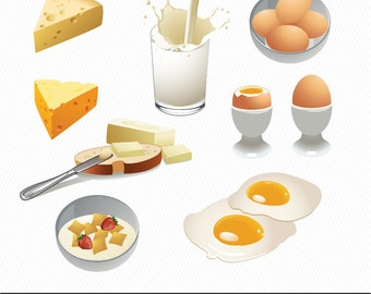 Breakfast Clipart - Set of food clipart - Digital Illustration - Eggs, Milk, Bread, Cereal, Butter and Cheese 001