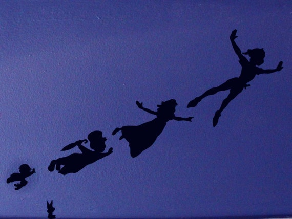 peter pan shadow wall decals created using peter pan template. Black Bedroom Furniture Sets. Home Design Ideas