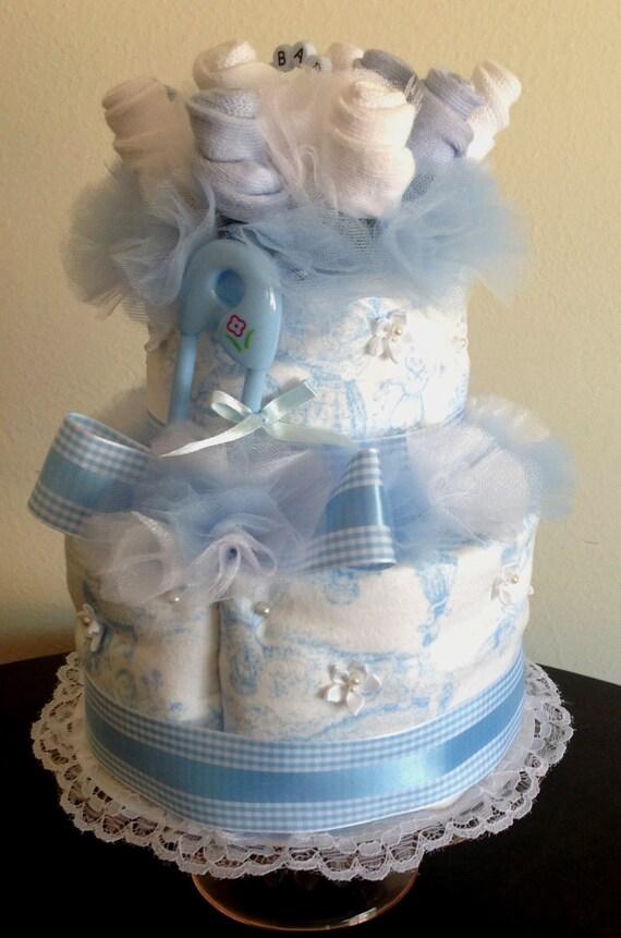 Baby Sock Bouquet Burp Cloth Cake Blue Nursery Rhyme Baby