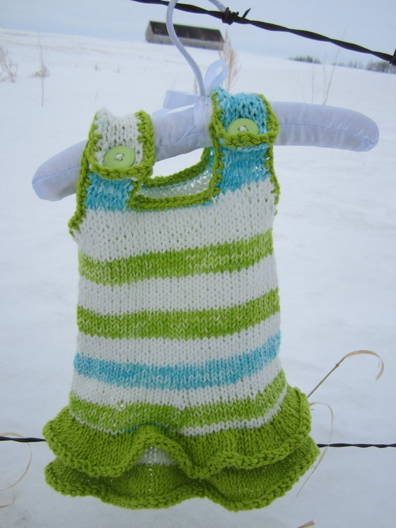 Knitting Pattern For Ruffle Baby Vest : KNITTING PATTERN PDF Baby Ruffle Dress Knit pattern Dress