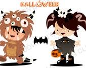 Halloween Clipart  · Fun original Illustration · Digital Stamp