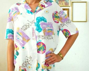 """Vintage 80's """"Romantic"""" White / Purple Shirt"""