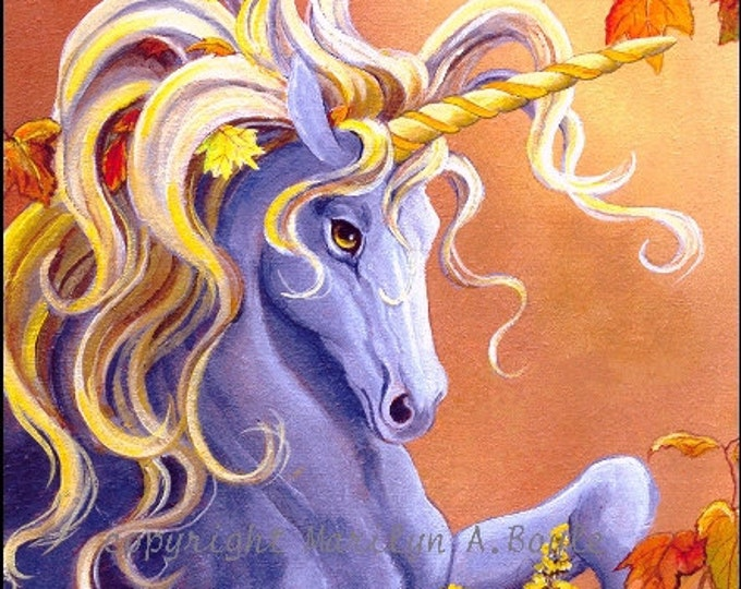 CARDS - SET of FOUR - Unicorns; golden;  4 x 5 with envelopes, fantasy cards,