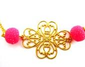 Pink golden Headband-Gold filigree headband-Beaded hair accessory-Pink and gold- Adjustable headband