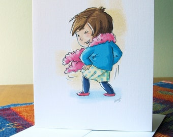 Dance - Flirty Move note card with envelope / blank inside / cute winking girl with feather boa / art by Kathe Keough