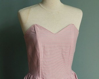 Vintage Dress with Sweetheart Neckline in Pink Strapless//pink vintage strapless dress