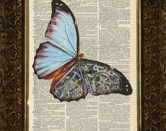 SteamPunk Blue Butterfly on Antique Dictionary Page, Book Art, Art print, Wall Decor, Wall Art Mixed Media Collage
