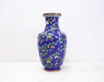Large Blue Floral Chinese Cloisonne Vase