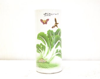 Chinese Capstand Vase with Cabbage and Butterflies