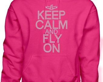 Cheer Sweatshirt/ Rhinestone Cheer Sweatshirt/ Rhinestone Keep Calm and Fly On With Cheerleader Flyer Hoodie Sweatshirt/ Cheer Gift