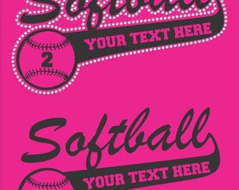 Personalized Softball Shirt/ Softball Mom Shirt/ Softball Team Shirt/ Vinyl Rhinestone Personalized Softball Mom Team Name Mascot TShirt