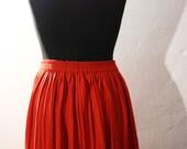 Red long pleater skirt Maxi skirt Danish vintage pleater skirt ankle length skirt usable as a dress one size skirt for women knife-pleated