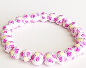 Bracelet, Polymer Clay Beads, Flower Beads, Pinwheel Print, Millefiori, Pink, Yellow, Stretch Bracelet
