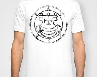 Ornament Magic Circle Men T Shirt in Vintage Style / Magic Symbols Spells and Magic / Short Sleeves Tshirt WHITE S,M,L,XL