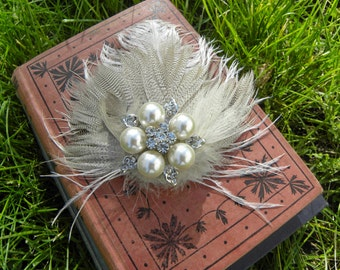 Handmade Feathery Hair Fascinator Accessory Clip, Ivory & Brown with Rhinestone and Pearl Brooch So Elegant