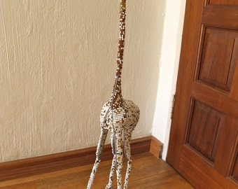 African Beaded Wire Animal Sculpture - GIRAFFE MEDIUM - Gold/White