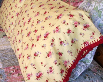 Pillowcase With Crochet Edging Trim - Red rose and yellow