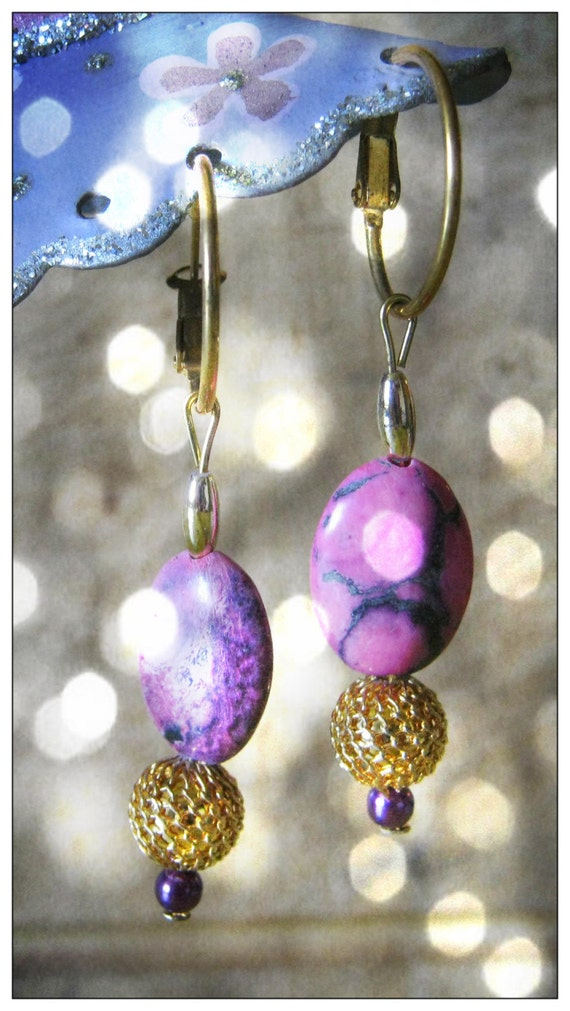 Handmade Gold Hoop Earrings with Rhodonite & Purple Pearl by IreneDesign2011
