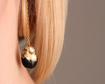 Black and gold bean earrings in long gold color chain. Handmade of real beans. Perfect for vegans. Christmas jewelry