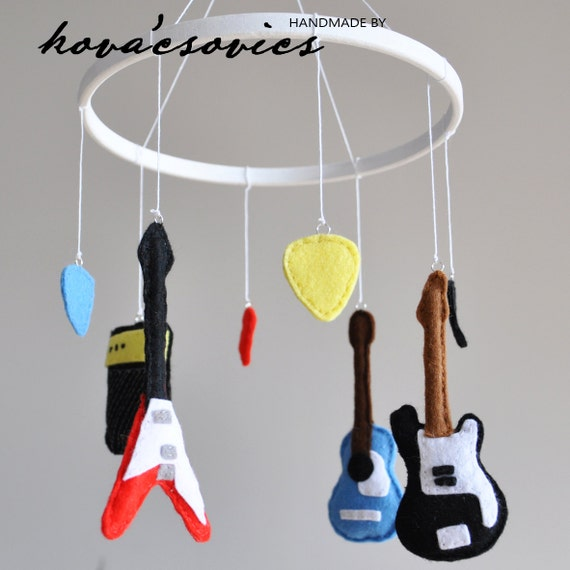 Crib mobile - Nursery decoration - Guitars - Electric and Acoustic Guitar, Amplifier, Picks, Instruments