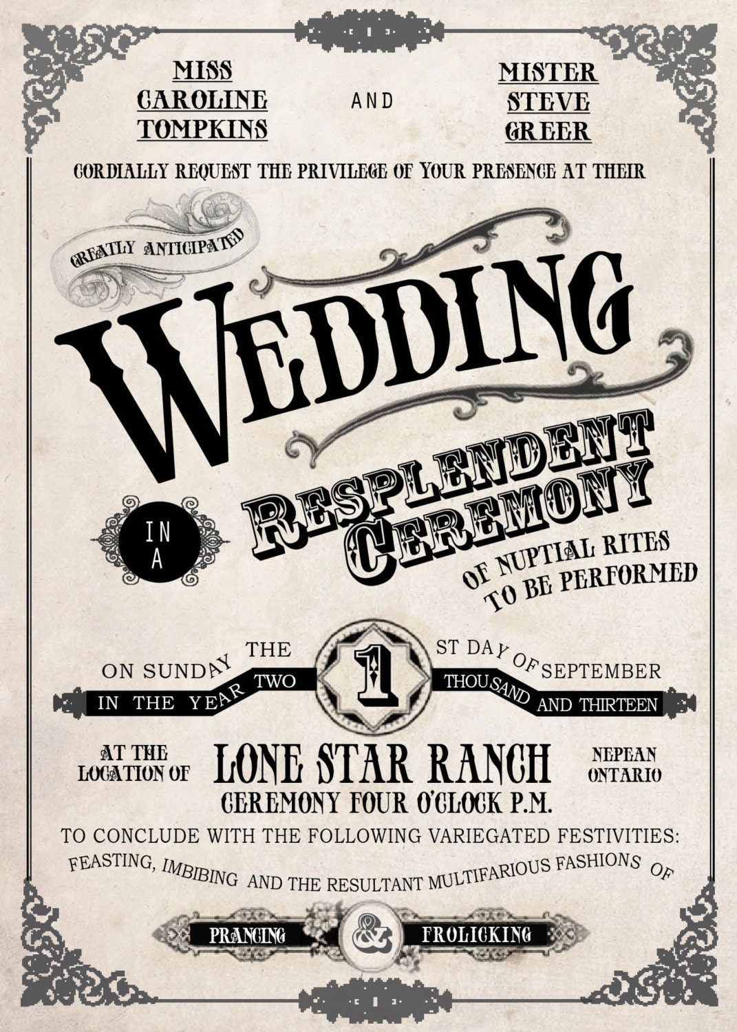 Country Fair Vintage Wedding Invitation // Old Fashioned ...