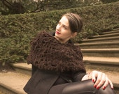 chunky knit cowl / autumn scarf / brown scarf / chunky knit scarf / loose knit / snood scarf / thick scarf / urban rustic - BonniesCinematheque