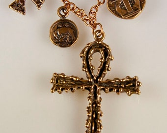 Co-exist Necklace - bronze symbols of faith - ankh, cross and coins